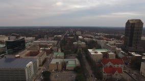 360 grad flyg- sikt av Raleigh Skyline lager videofilmer