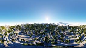 360 Grad Futuristische Stadt, Stadt Architektur der Zukunft Schattenbild des kauernden Geschäftsmannes Wiedergabe 3d Kugelförmige stock abbildung