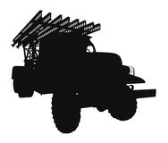 Grad MLRS vector. Silhouette multiple rocket launchers `grad`, the second world war Royalty Free Stock Image