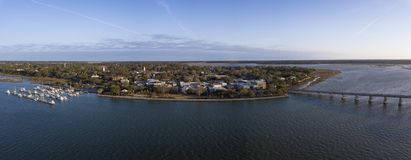180 grad panorama av Beaufort, South Carolina Arkivfoton