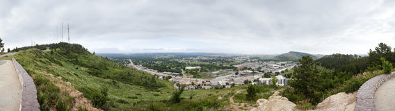 180 grad panorama av den snabba staden, South Dakota Arkivfoton
