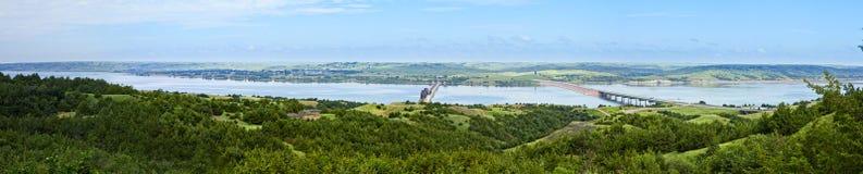 180 grad panorama av Missouri River Fotografering för Bildbyråer