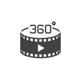 360 grad panorama- videopn tecken vektorsymbol, fast logoillustr stock illustrationer
