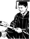 Grad Receiving Diploma Stock Photo