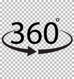 360 grad symbol på genomskinlig bakgrund Royaltyfri Fotografi