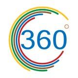 360 Grad Winkelzeichen auf weißem Hintergrund Winkel 360 vektor abbildung