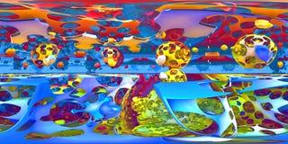 360-Grad-Zusammenfassung, Formchaospanorama, equirectangular Projektion, Umweltkarte Kugelförmiges Panorama HDRI Lizenzfreies Stockfoto