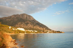 picturesque twilight over dalmatian village Gradac Stock Images