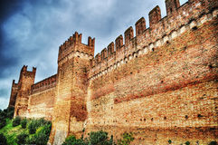 Gradara city walls under an overcast sky Royalty Free Stock Photography