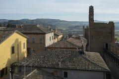 Gradara miasta widok od średniowiecznych fortecznych ścian, Włochy zdjęcie stock