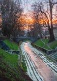 Gradascica flod, Ljubljana, Slovenien Arkivbilder