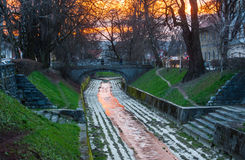 Gradascica-Fluss, Ljubljana, Slowenien Lizenzfreies Stockfoto