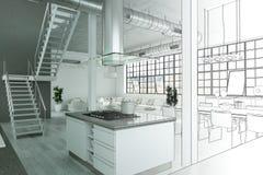 Gradation moderne de dessin de grenier de conception intérieure dans la photographie Image libre de droits