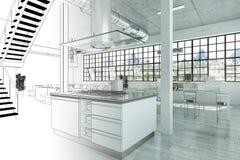 Gradation moderne de dessin de grenier de conception intérieure dans la photographie Photo libre de droits