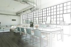 Gradation moderne de dessin de grenier de conception intérieure dans la photographie Photos libres de droits