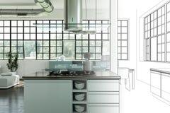Gradation moderne de dessin de grenier de conception intérieure dans la photographie Photos stock