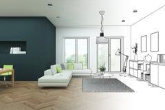 Gradation moderne de dessin de grenier de conception intérieure dans la photographie Images libres de droits