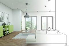 Gradation moderne de dessin de grenier de conception intérieure dans la photographie Photographie stock libre de droits