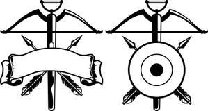 Gradbeteckning med armborst royaltyfri illustrationer