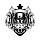 Gradbeteckning patriotiska Eagle Power Defense för virvel för Acanthus för lagarmsköld royaltyfri illustrationer