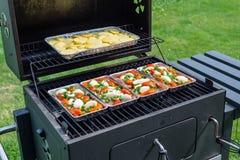Grade aberta com alimento em bandejas para dentro, estando no jardim do quintal no gramado imagem de stock