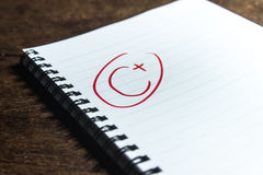 Grade C Plus on Notebook Royalty Free Stock Photography