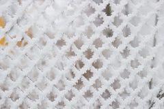 Grade com pilhas quadradas na neve Imagem de Stock