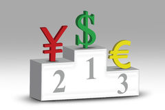 Grade of the currency symbols. The grade position of currency symbols of dollar, euro, and yen Stock Photo