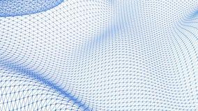 Grade 3D ou malha de ondulação azul limpa abstrata como o fundo dos desenhos animados Ambiente de vibração geométrico azul ou mat ilustração do vetor