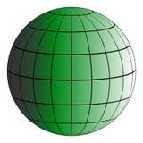 A grade da terra de Globus 3D, o efeito da iluminação pelo sol, vector o planeta verde, modelo da terra ilustração royalty free