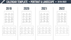 Grade do calendário pelo ano 2019-2022 no fundo branco Disposição da orientação do retrato e da paisagem Molde da cópia do projet ilustração royalty free