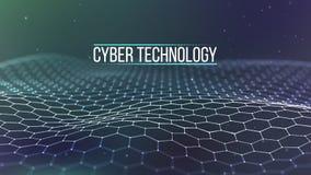 Grade do fundo 3d Wireframe futurista da rede do fio da tecnologia do Ai da tecnologia do Cyber Inteligência artificial Segurança ilustração royalty free