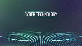 Grade do fundo 3d Wireframe futurista da rede do fio da tecnologia do Ai da tecnologia do Cyber Inteligência artificial Segurança ilustração stock