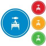 Grade do soldador com ícone dos peixes Imagem de Stock