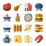 Grade e ícones lisos do BBQ Fotografia de Stock Royalty Free