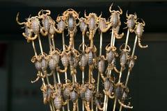 Grade e escorpião fritados na vara Imagens de Stock Royalty Free