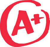 A+ Grade Exam. The top A+ grade for exam results in vector Stock Images