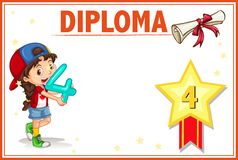 Grade four diploma certificate template royalty free stock image