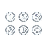 Grade mark line icons, upgrade class, fast services concept. Tokens with numbers one two three and letters A B C, first second third level, upgrade concept Stock Photos