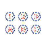 Grade mark line icons, upgrade class, fast services concept. Tokens with numbers one two three and letters A B C, first second third level, upgrade concept Stock Images