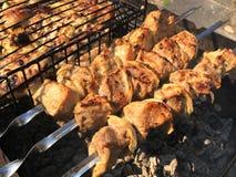 Grade nos carvões com fumo, assado Partes de carne da galinha grelhadas na grade imagens de stock royalty free