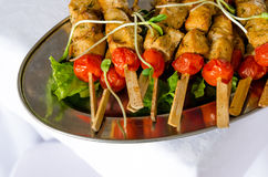 Grade ou preparação do BBQ com espetos da carne Foto de Stock