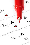 A-Grade Rating. Red felt pen marking A grade rating on questionnaire royalty free stock photo