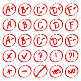 Grade results. Hand drawn vector set of grades with minuses and pluses.  Stock Images