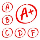 Grade results. Hand drawn vector set of grades. Red notes. Royalty Free Stock Image