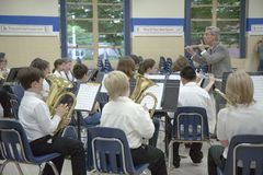 Grade school band conductor Royalty Free Stock Images
