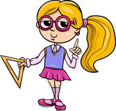 Grade school girl cartoon illustration Royalty Free Stock Images