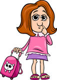 Grade school girl cartoon illustration Royalty Free Stock Image