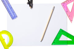 Grade School Supplies with Clipping Path Royalty Free Stock Images