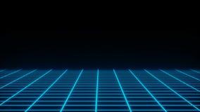 A grade simples de néon retro no espaço escuro, superfície plana, 3d rende contexto gerado por computador ilustração do vetor